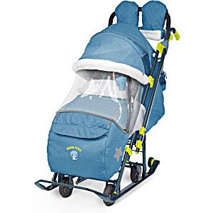 Санки коляска Ника Детям 7 3 в джинсовом стиле Синий